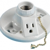 Porcelain Lamp Holder with Pull Chain and 15 AMP Receptacle
