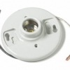 """Keyless Porcelain Lamp Holder: 4-Terminal with 7"""" Black and White Conductors"""