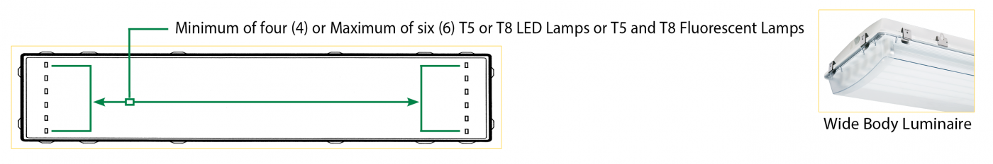 Wide Body T5 and T8 LED and Fluorescent Luminaires